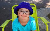 Little girl smiling outside