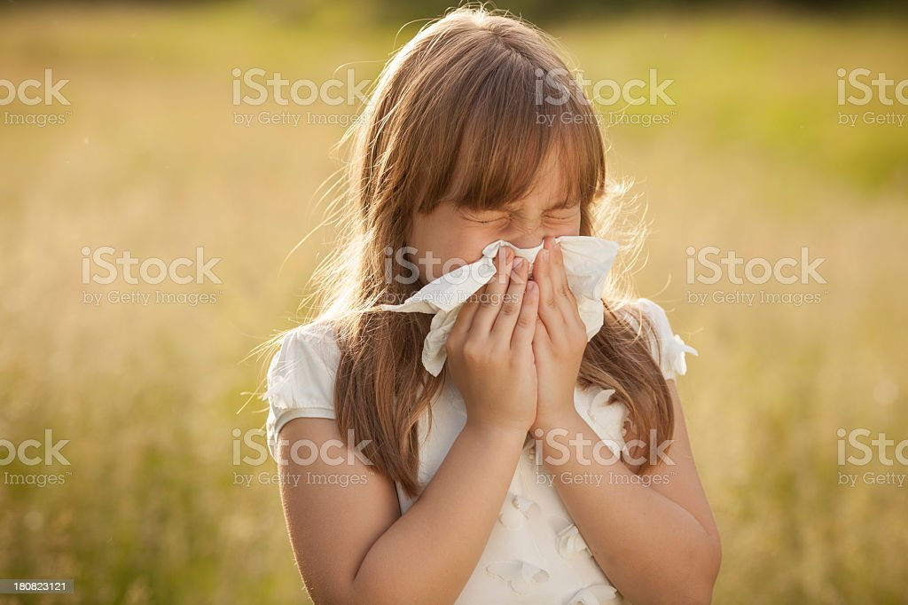 A little girl sneezing in a field stock photo