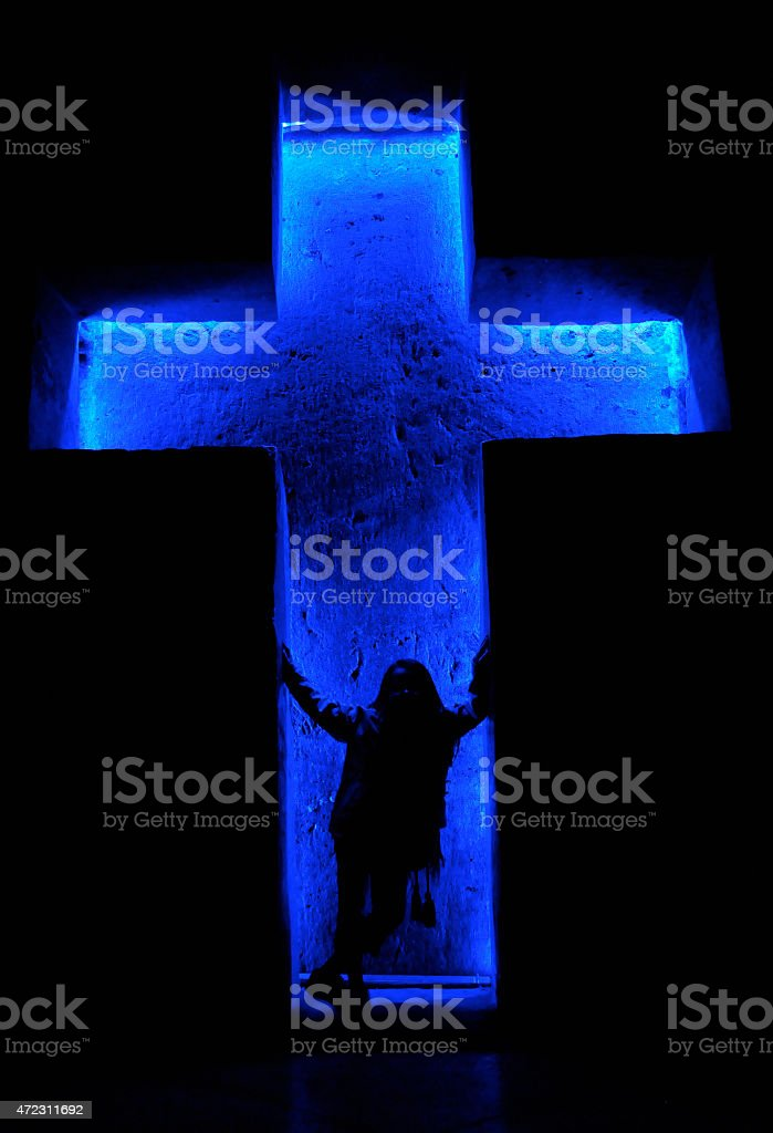 Little girl standing in a Cross, Cathedral of Zipaquirá, Colombia stock photo