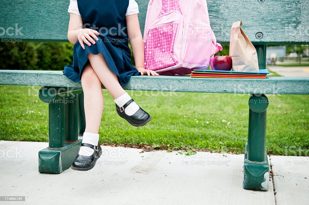 Little Girl Student Waiting for First Day of School stock photo