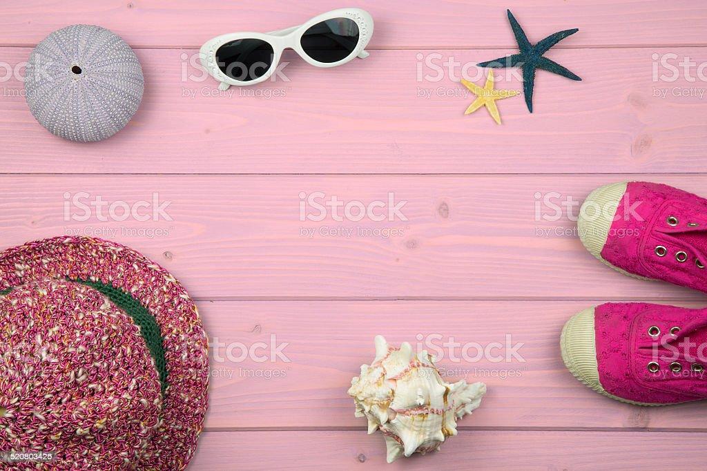 little girl summer accessories stock photo