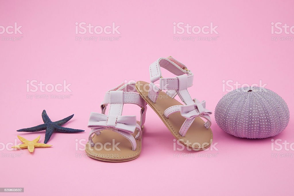 little girl summer sandals stock photo