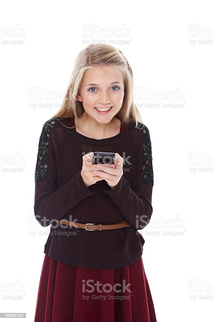 Little girl texting on white royalty-free stock photo