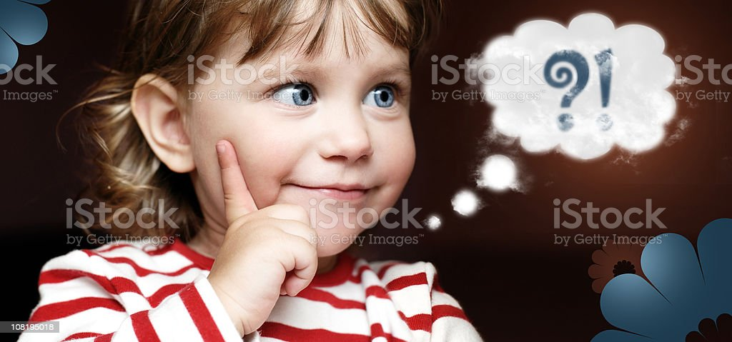 Little Girl Thinking and Cartoon Thought Bubble royalty-free stock photo