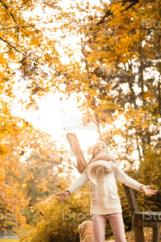 Little girl throwing autumn leaves in the park stock photo