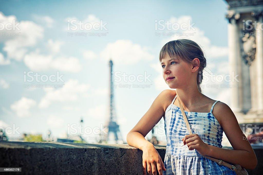 Little girl tourist visiting Paris stock photo
