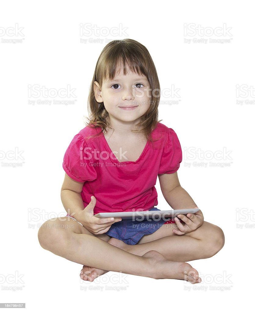 Little girl using tablet royalty-free stock photo