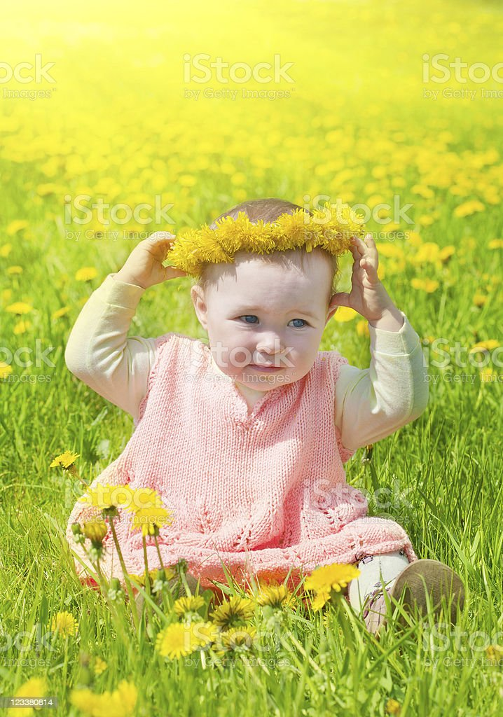 little girl walks on a glade with dandelions royalty-free stock photo