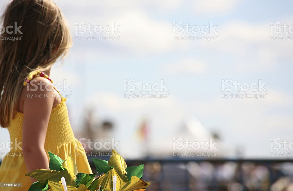 little girl watching airshow royalty-free stock photo