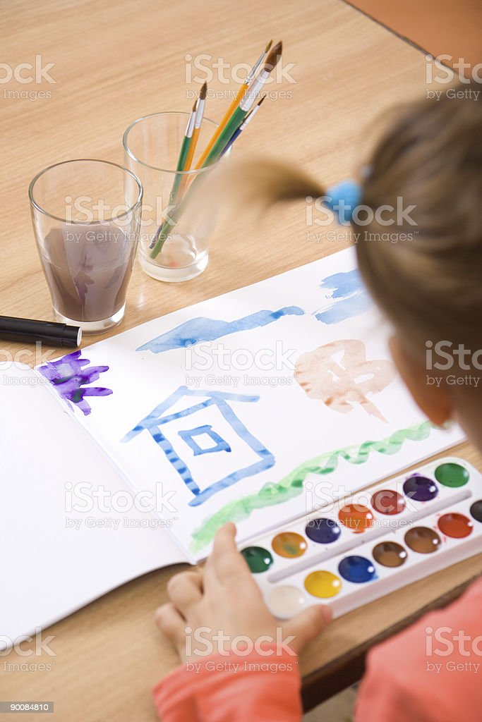 Little girl watercolor paint royalty-free stock photo