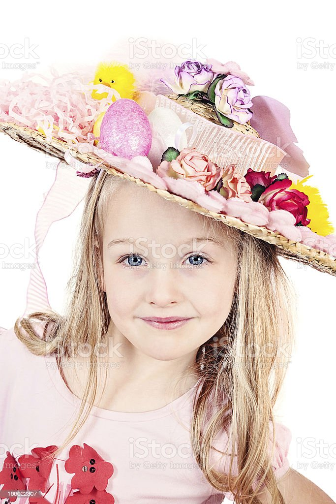 Little Girl Wearing Easter Bonnet royalty-free stock photo