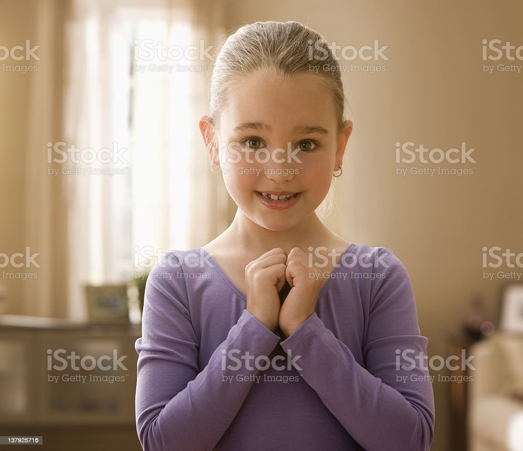 Little girl wearing leotard stock photo