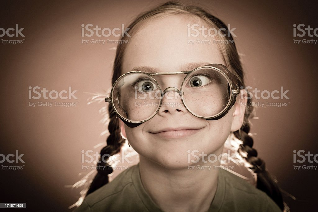 Little Girl Wearing Steampunk Eyeglasses royalty-free stock photo