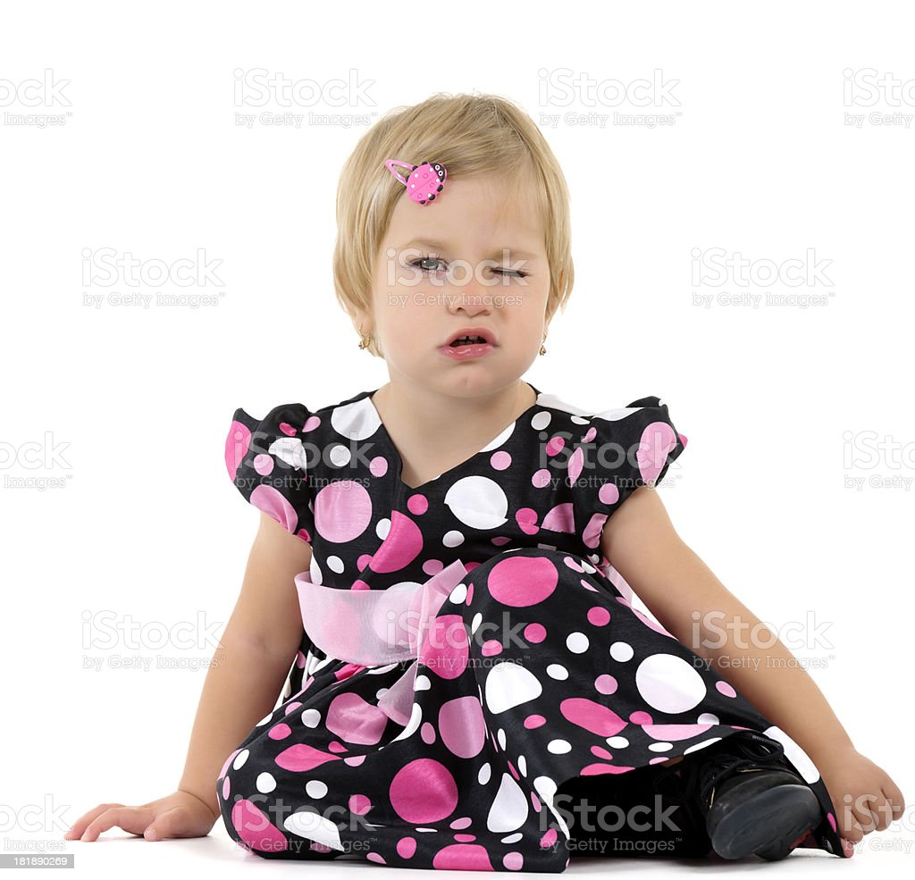 little girl winking eye royalty-free stock photo