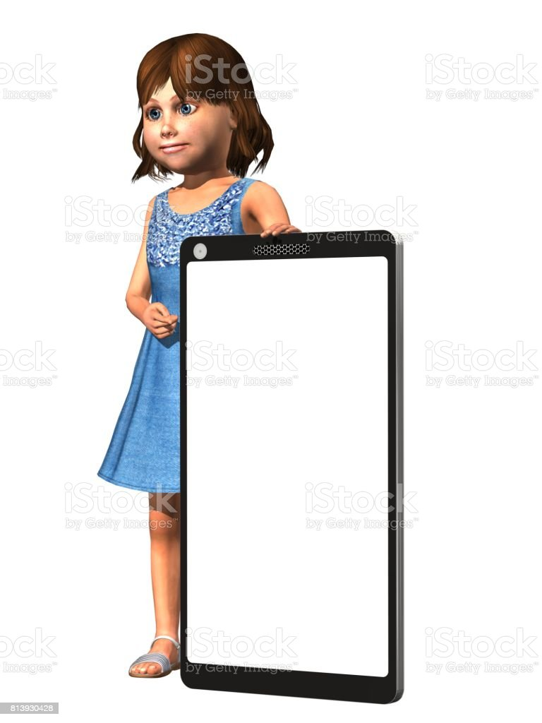 Little girl with a big empty mobile phone on a white background - 3d render illustration stock photo