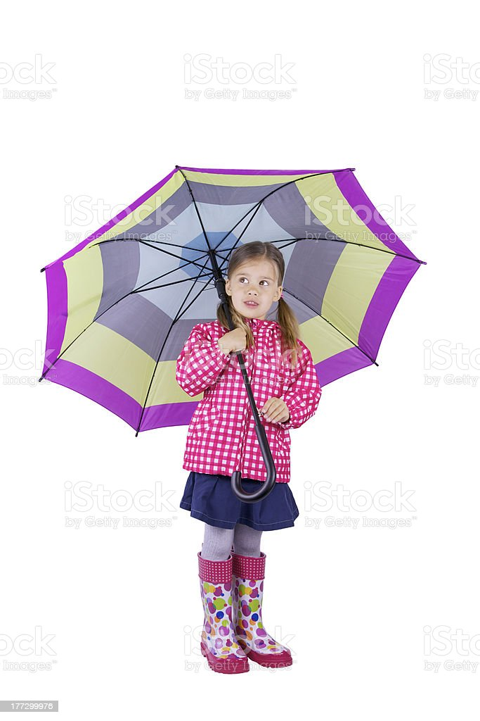 Little Girl with a Big Umbrella royalty-free stock photo