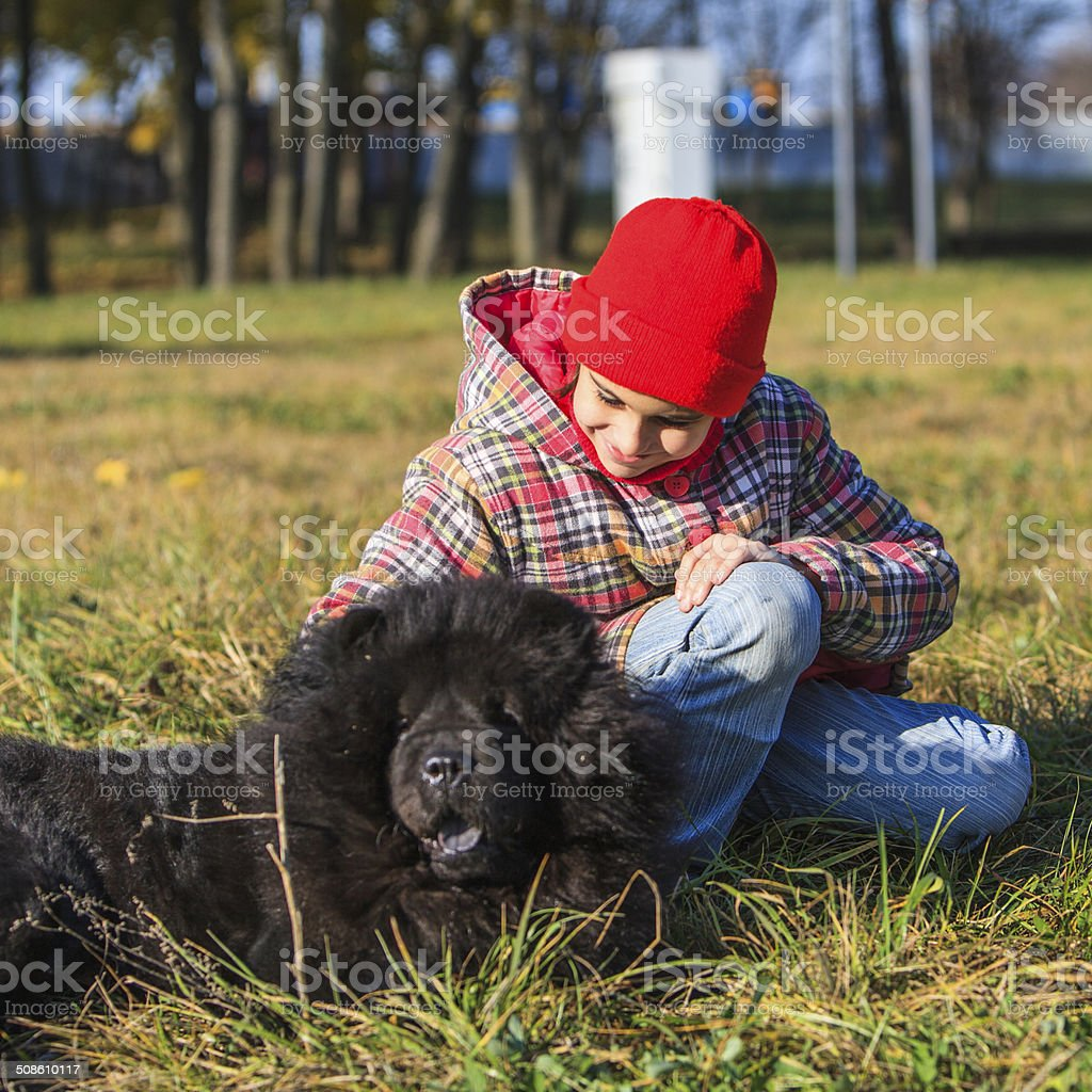 Little girl with a black dog stock photo
