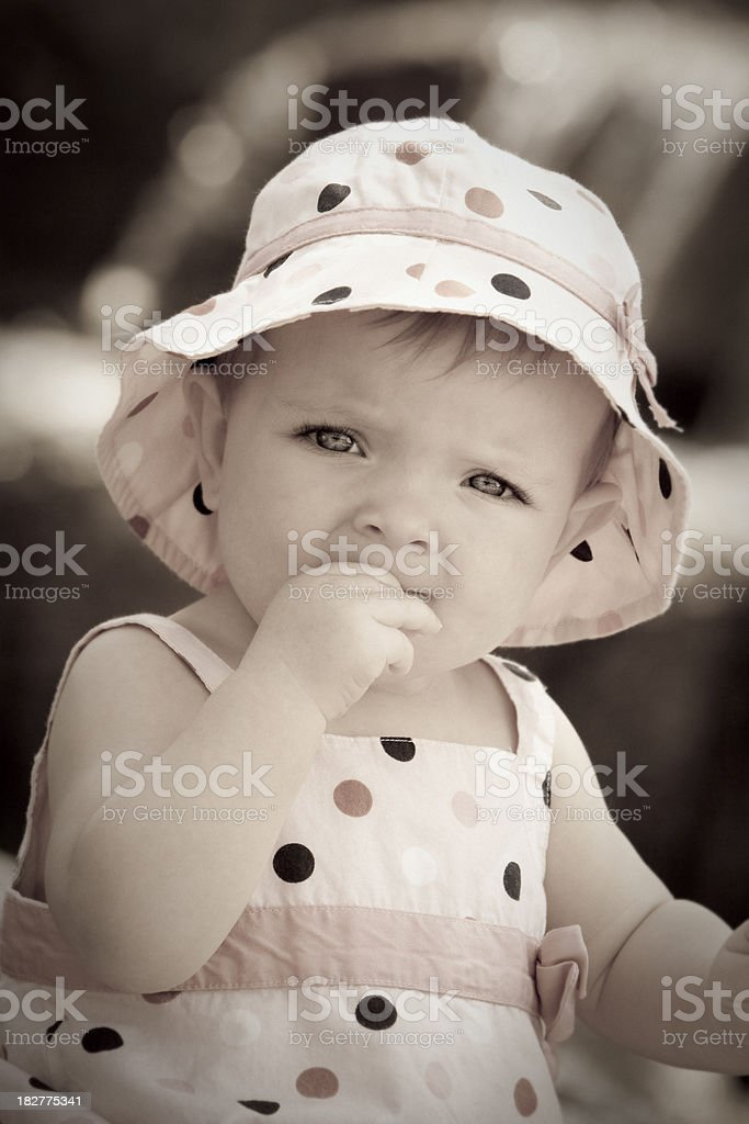 Little girl with a hat royalty-free stock photo