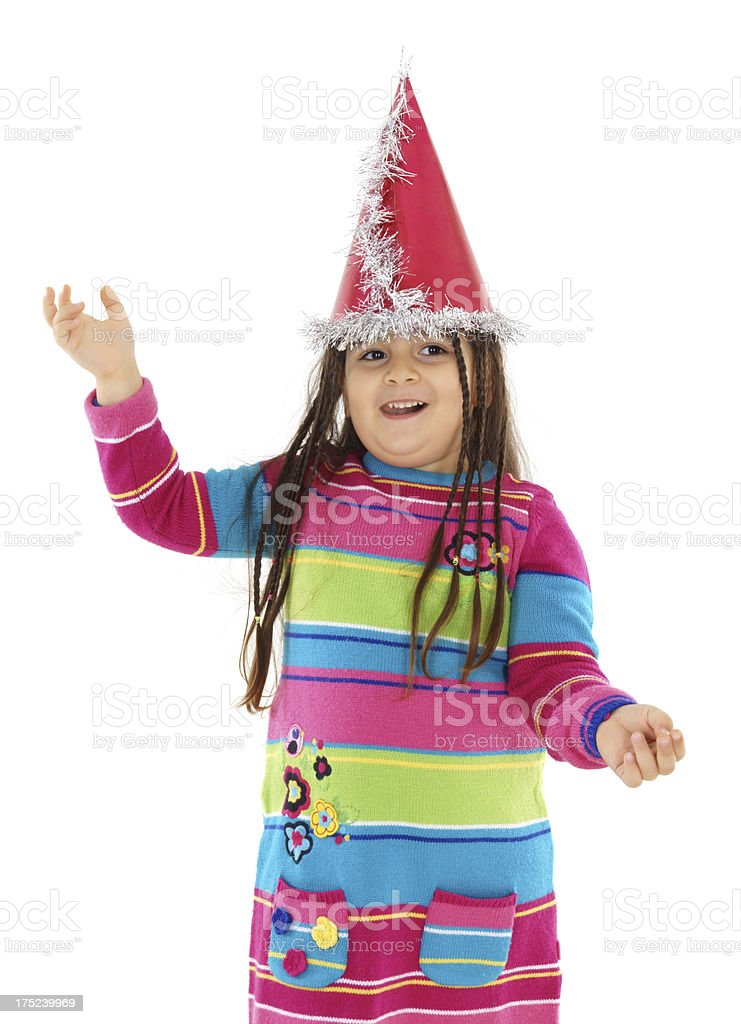 little girl with a party hat royalty-free stock photo