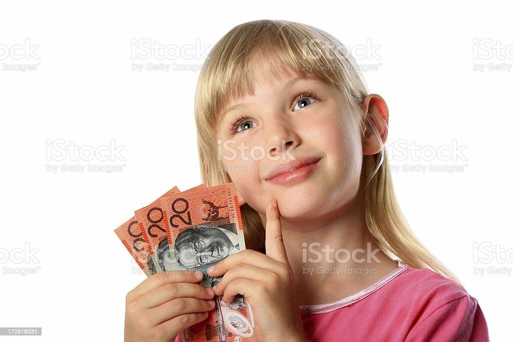 Little Girl with Australian 20 dollar notes money cash royalty-free stock photo