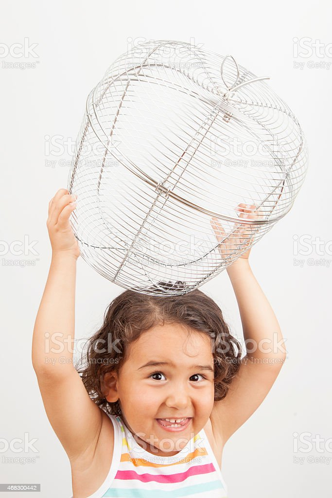Little girl with basket of empty apples stock photo