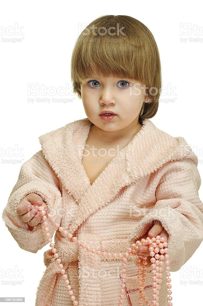 little girl with beads royalty-free stock photo