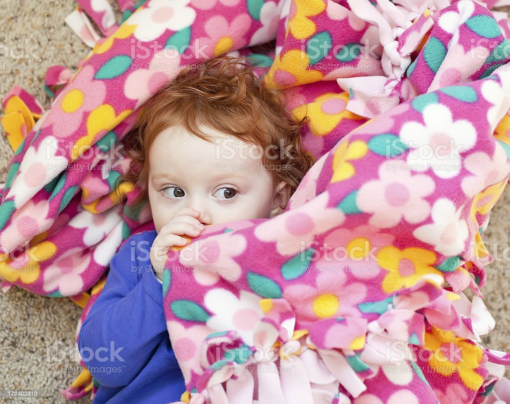 Little Girl With Blanket royalty-free stock photo