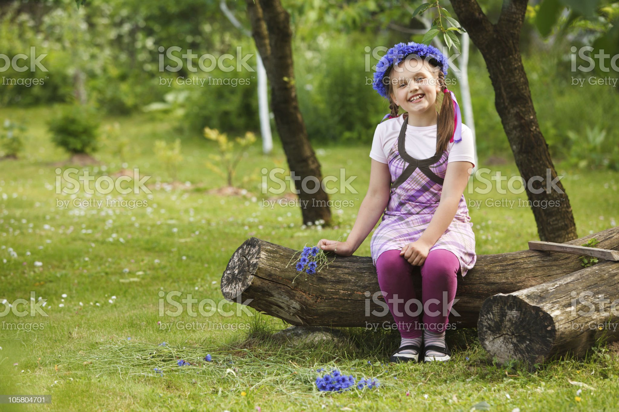Little girl with blue chaplet royalty-free stock photo
