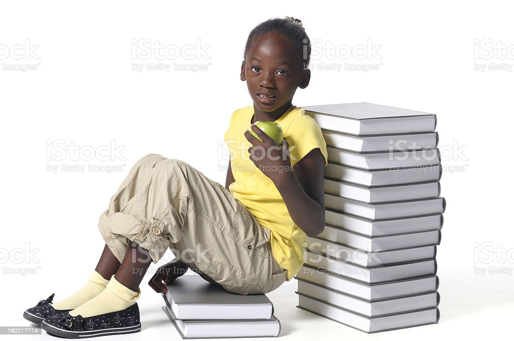 Little girl with books royalty-free stock photo