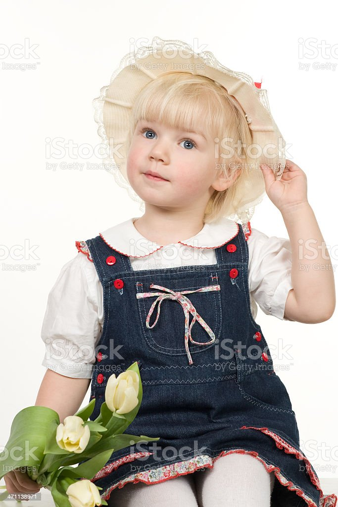 little girl with bouquet royalty-free stock photo
