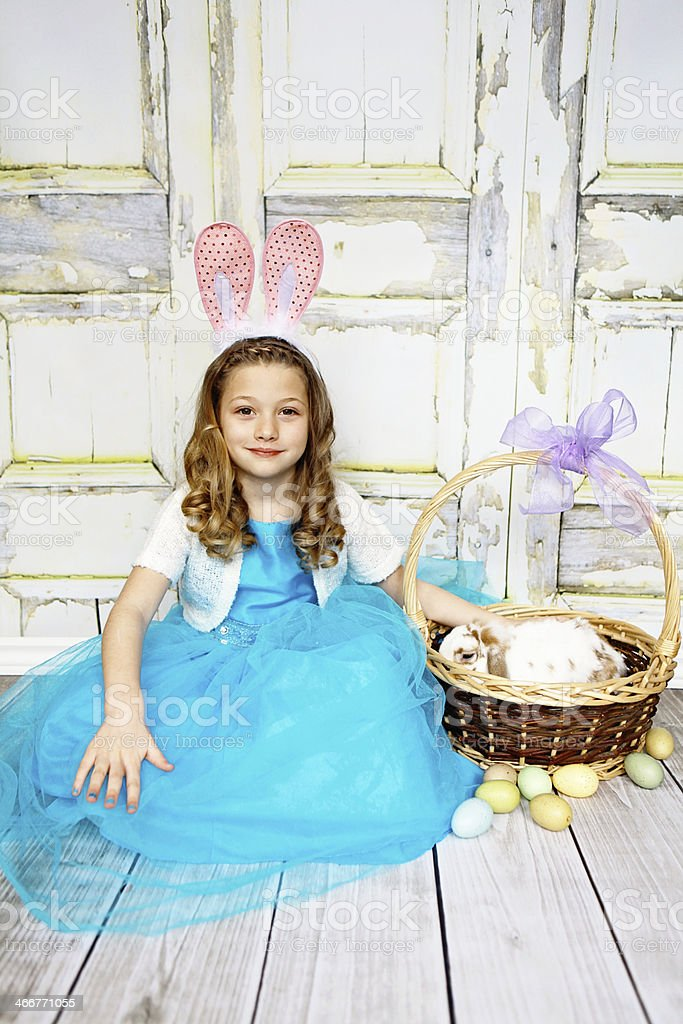 Little Girl with Bunny and Easter Basket royalty-free stock photo