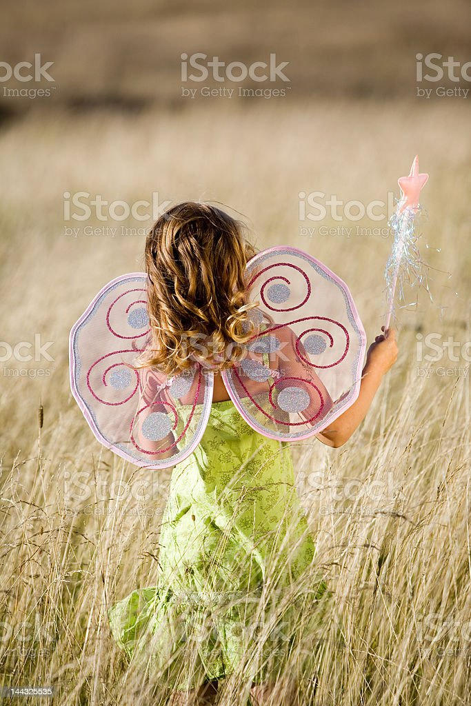 Little girl with butterfly wings stock photo