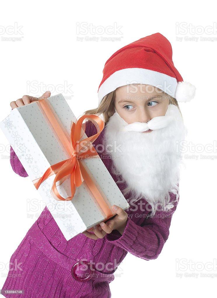 little girl with christmas gift stock photo