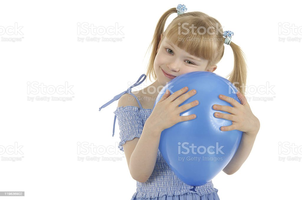 Little girl with colour balls royalty-free stock photo
