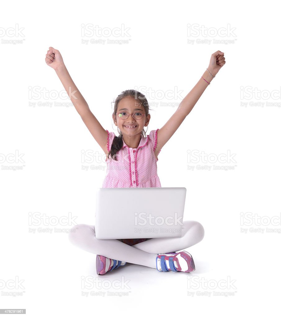 Little girl with computer royalty-free stock photo