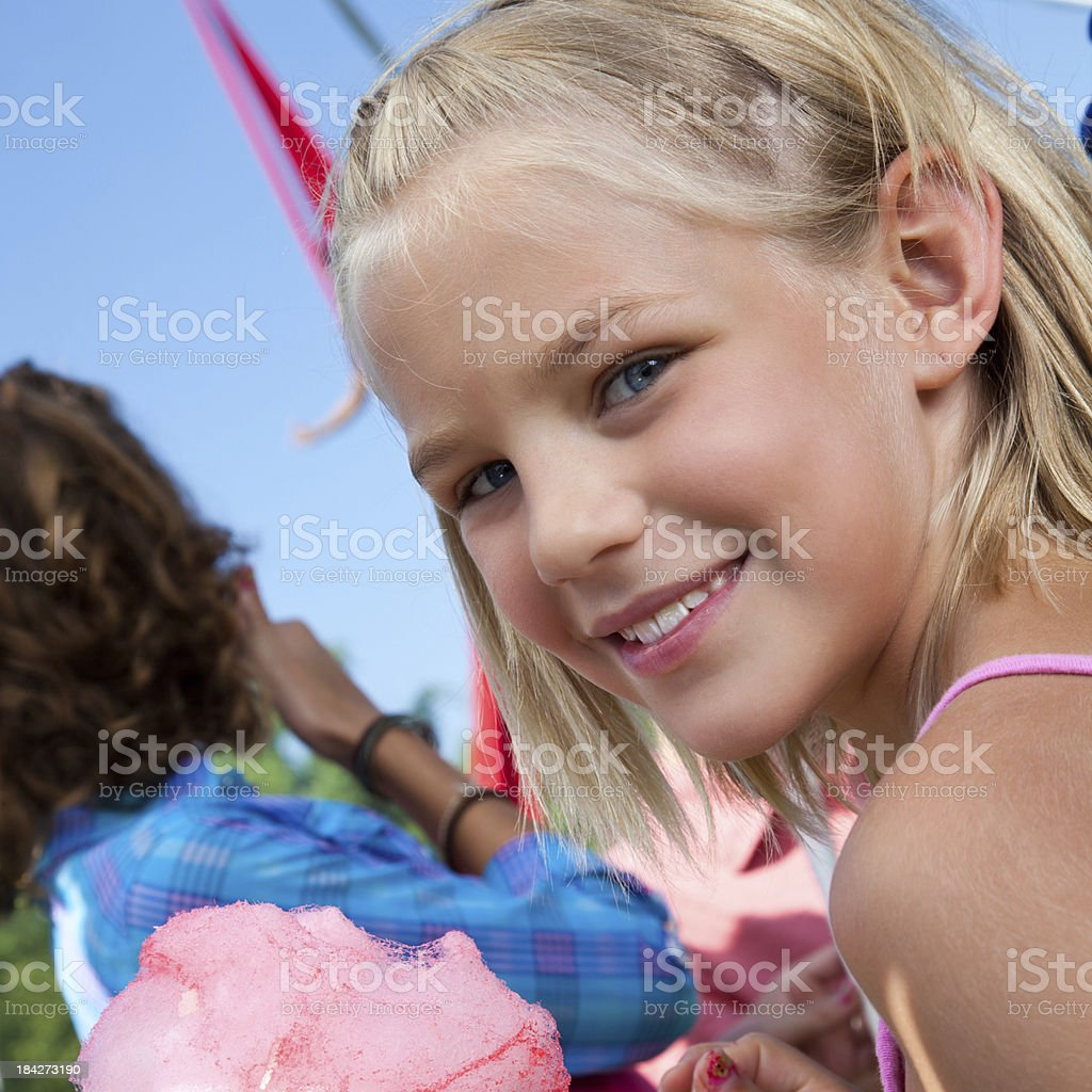 Little Girl With Cotton Candy at the Circus royalty-free stock photo