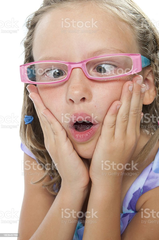 Little Girl with crossed eyes royalty-free stock photo