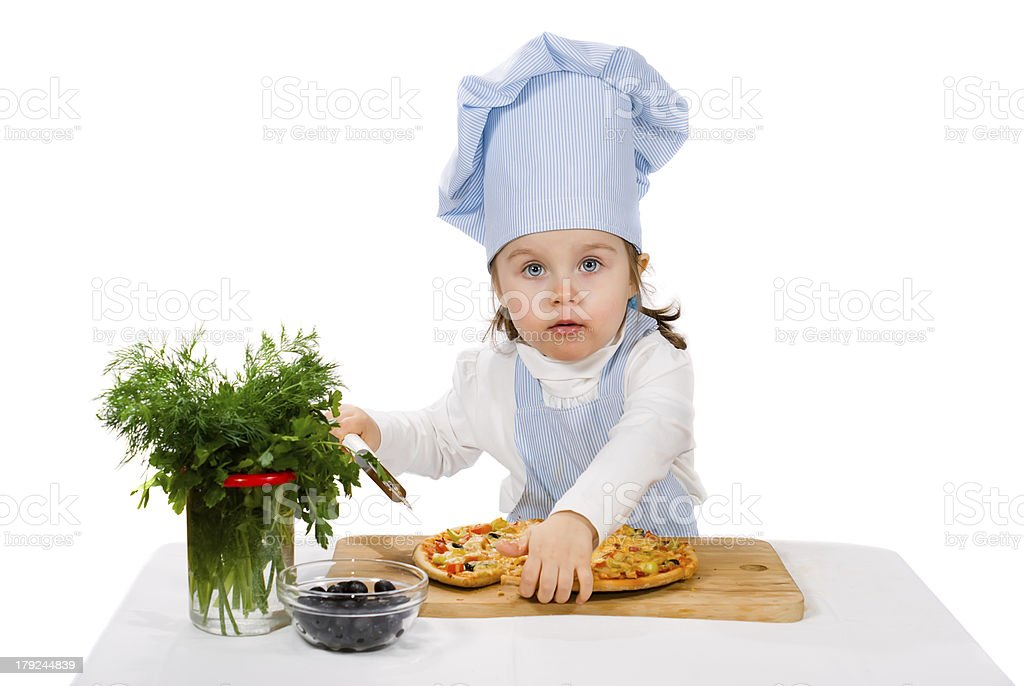 little girl with cutter and pizza royalty-free stock photo