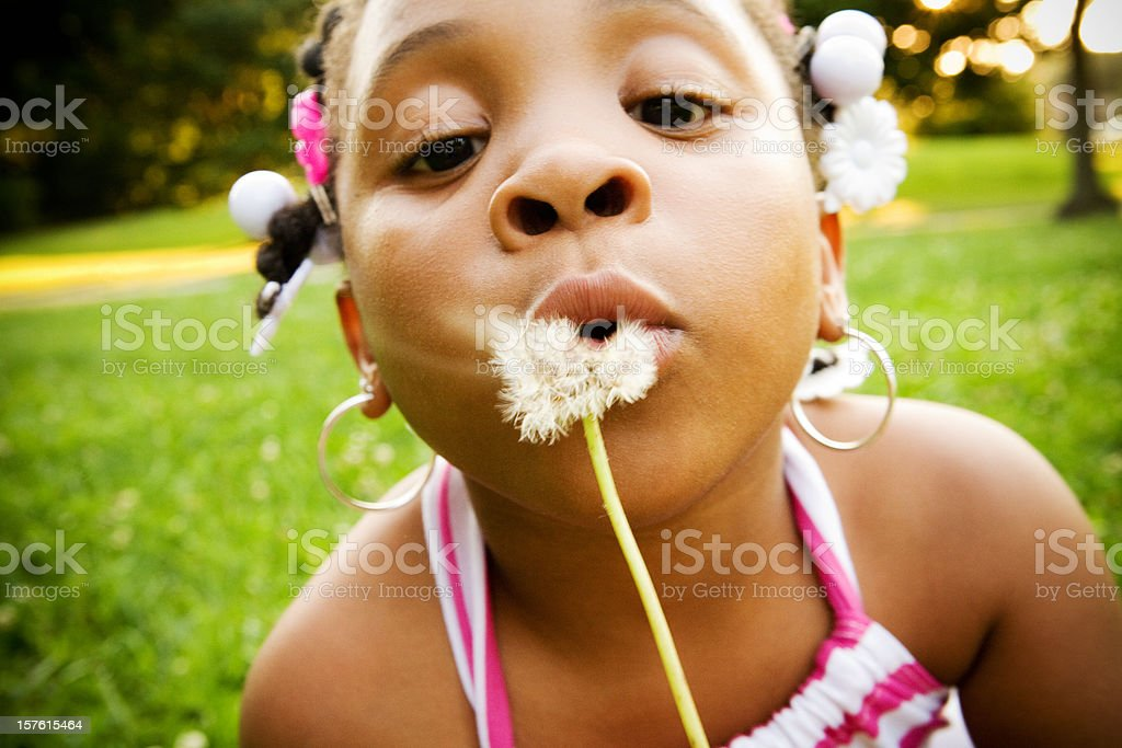 Little girl with dandelion royalty-free stock photo