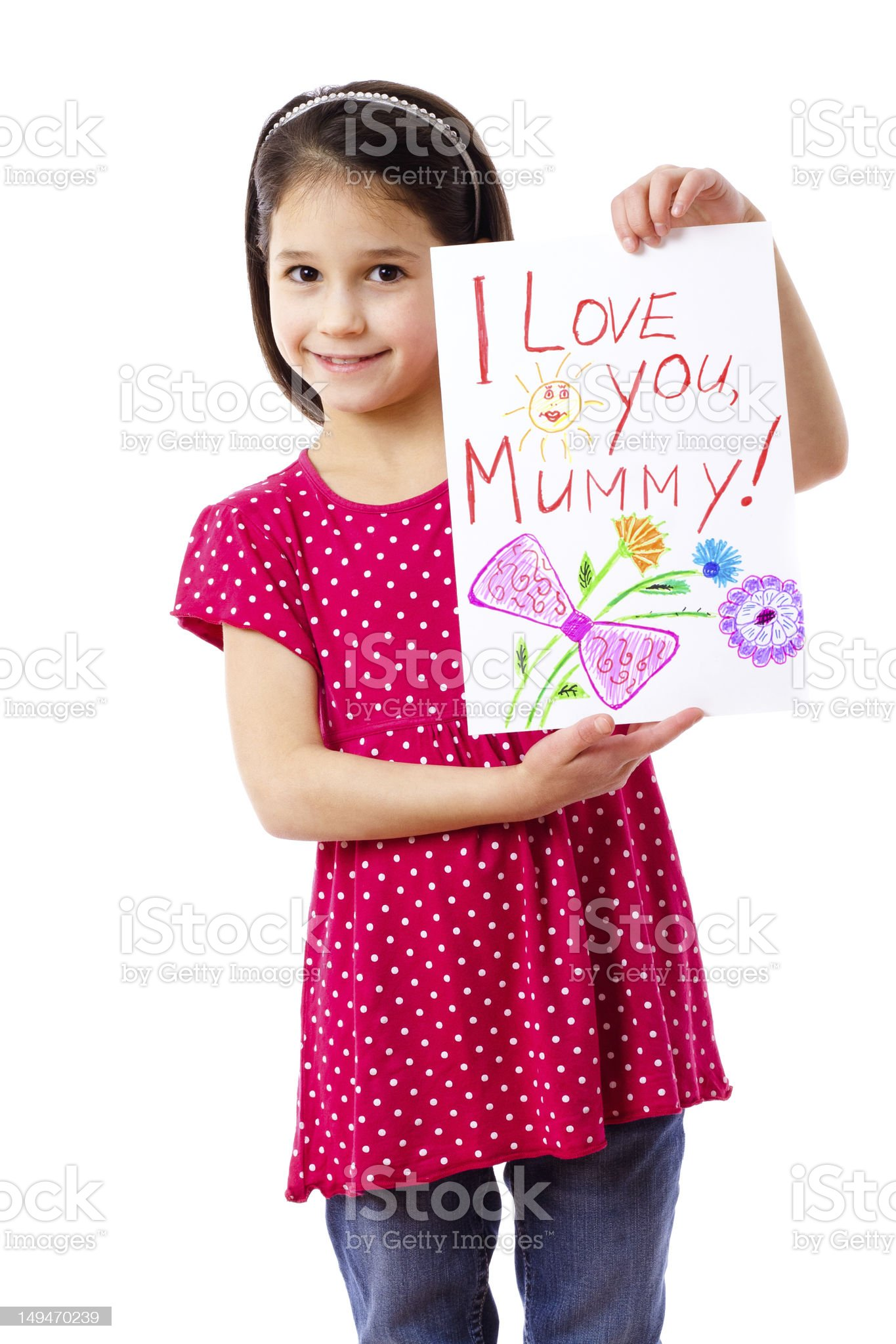 Little girl with drawing for mum royalty-free stock photo