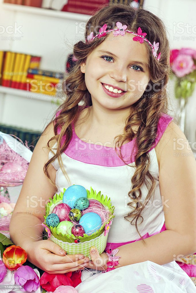 Little girl with Easter eggs royalty-free stock photo