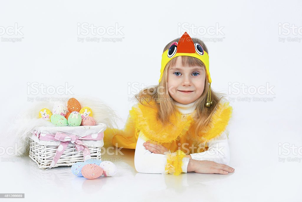 Little girl with easter eggs stock photo