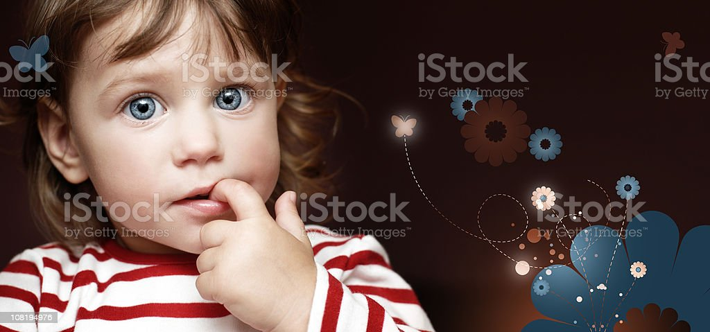 Little Girl with Finger in Mouth on Cartoon Background stock photo