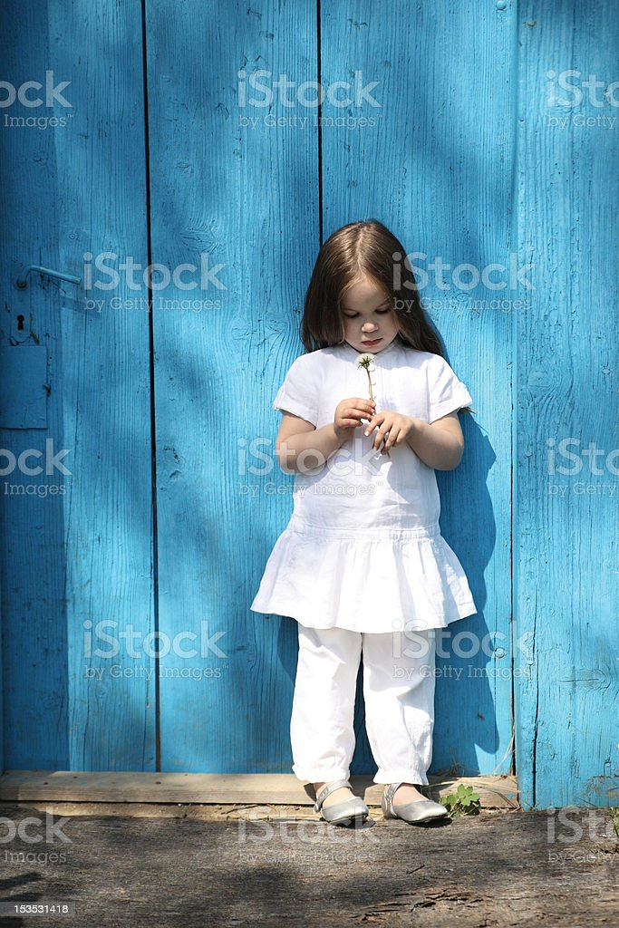 little girl with flower royalty-free stock photo
