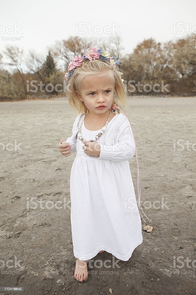 Little Girl With Flowers in Hair royalty-free stock photo