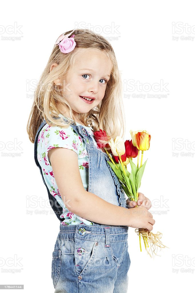 Little Girl with Flowers royalty-free stock photo