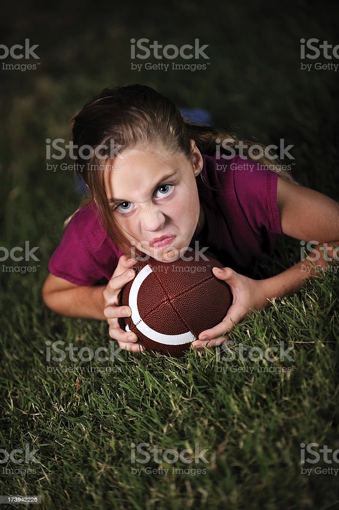 Little girl with Football stock photo
