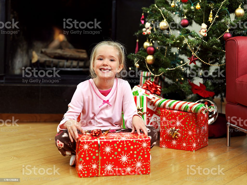 Little girl with gift royalty-free stock photo