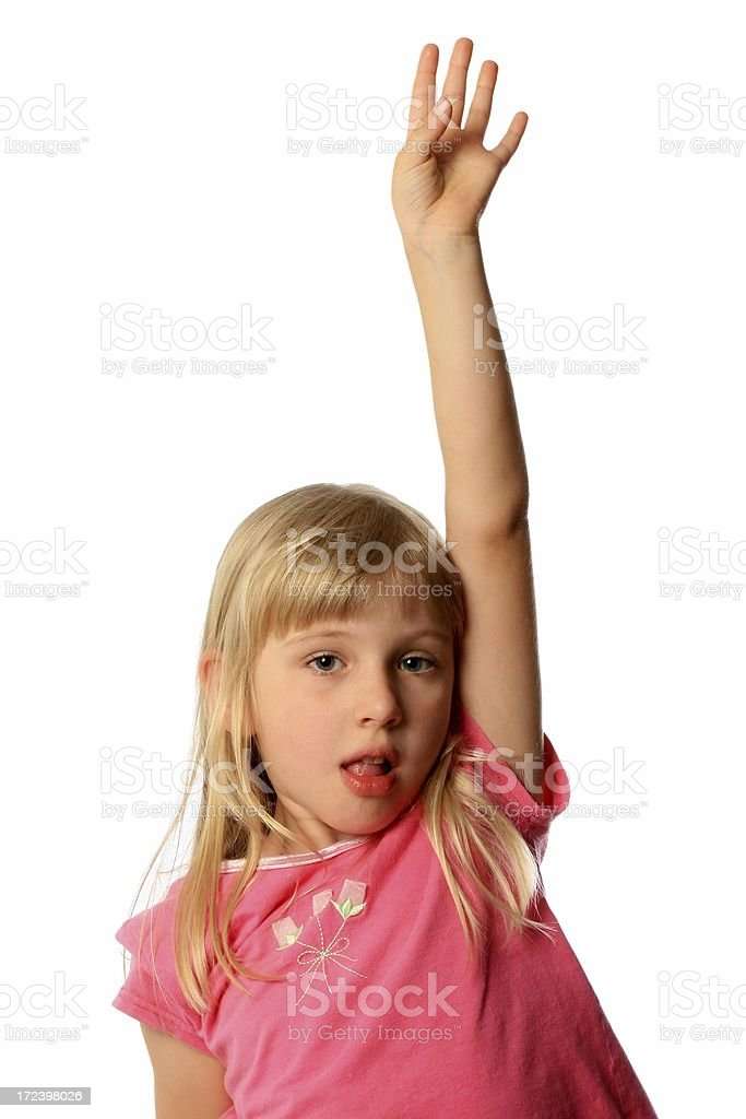Little Girl with hand raised up on a white background royalty-free stock photo