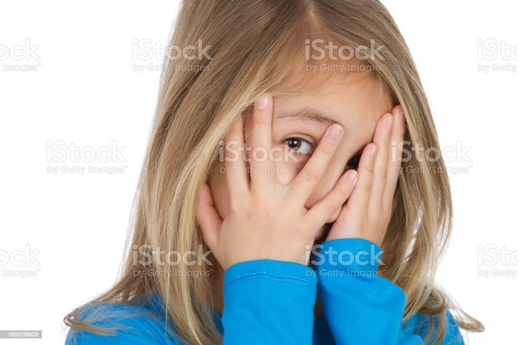 Little girl with hands on her face royalty-free stock photo